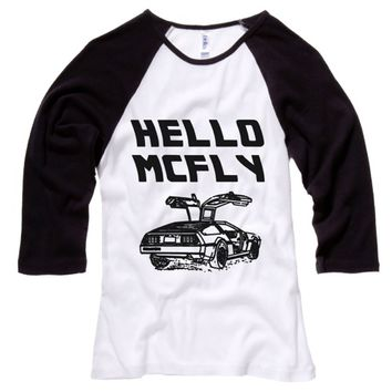 Hello McFly Womens Baseball Shirt - White Body-Black Sleeves