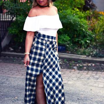 High Waist Plaid Skirt - Navy / Beige