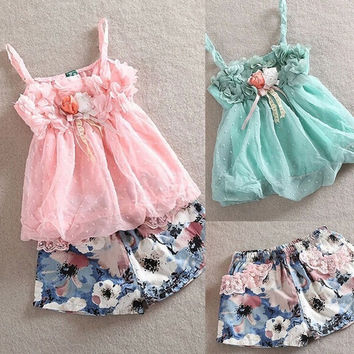 Fashion Baby Girls Spaghetti Strap Chiffon Bud Tops Floral Shorts Two Piece Set 7_S SV017161 = 1916945924