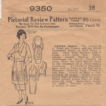 Late 1910s Teens  Early 1920s Ladies Wrap Dress 9350 Pictorial Review Pattern  Bust 38