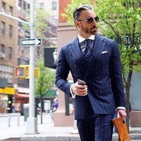 Mens Suit Double-Breasted Blazer Slim Fit 2Piece