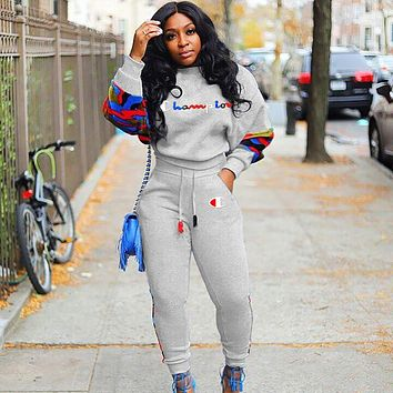 Champion Popular Women Casual Print Long Sleeve Top Pants Sweatpants Two-Piece Set Grey