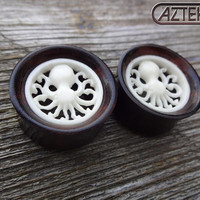 New Pair OCTOPUS PLUGS Carved Inlay Design - Size 1""