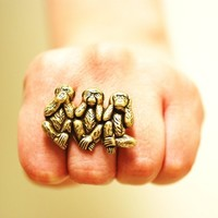 $16.00 Three Wise Monkeys Ring  See/Hear/Speak No Evil by grigio on Etsy