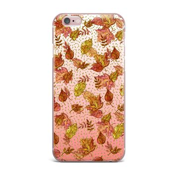 "Ebi Emporium ""AUTUMN OMBRE, PINK GREEN"" Pink,Green,Nature,Pattern,Watercolor,Mixed Media iPhone Case"