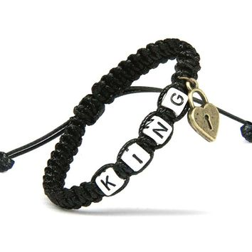 2pcs/pair Couple Bracelets King And Queen With Key Lock Black Rope Chains Lovers Gift Handmade Girlfriend Jewelry Charm Bracelet