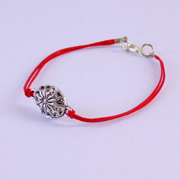Cord bracelet for men, men's bracelet with charm, jewelry for men , Friendship bracelet, gift for him, red cord, tibetan bead, men's jewelry