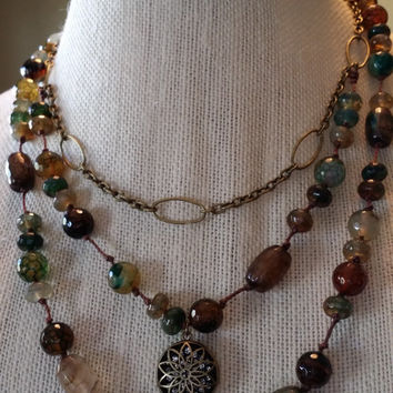 Multi Strand Hand Knotted Earth Tone Faceted Stone Antique Gold Chain Necklace and Bracelet Set