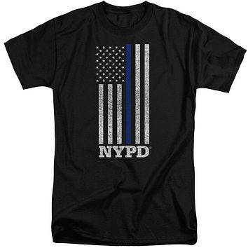 NYPD Tall T-Shirt Thin Blue Line American Flag Black Tee