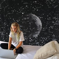 Starry Night Constellation Map Boho Wall Tapestry