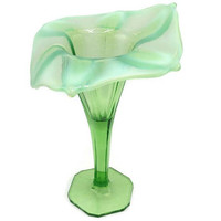 Early 1900's Dugan Glass Green Opalescent Jack In The Pulpit Vase