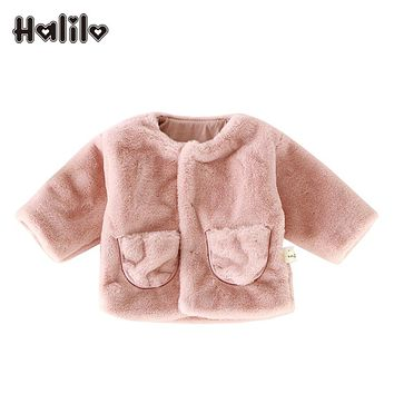 Halilo Baby Girl Outerwear Autumn Winter Faux Fur Baby Girl Jacket Solid Color Girls Jackets And Coats Fashion Infant Clothing