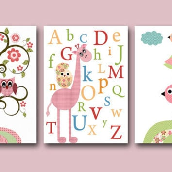 Childrens Art Kids Wall Art Baby Girl Nursery Kids Print Baby Girl Print Nursery Print set of 3 8x10 Owl Alphabet Nursery Giraffe Rose Pink