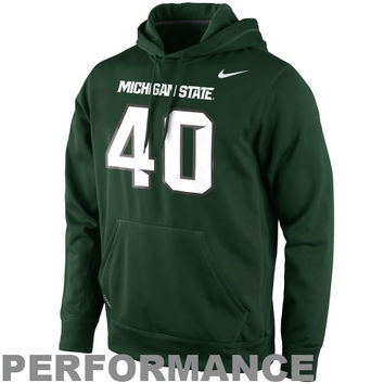 Nike Michigan State Spartans #40 Performance Knock Out Replica Jersey Hoodie - Green