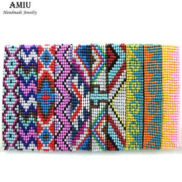 AMIU Handmade Friendship Bracelets Hippy Seed Beads Cross Rope String Handmade Boho Beads Bracelets For Women Men Dropshipping