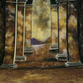Printed Muslin Scenic Archway Brown Pillard Clouds Backdrop - 112-1