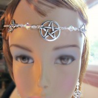 Triquetra Pentacle Circlet Earrings Set Ritual Headpiece SET Handfasting Necklace Set