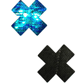 Black/Blue X Reversible Sequin Pasties