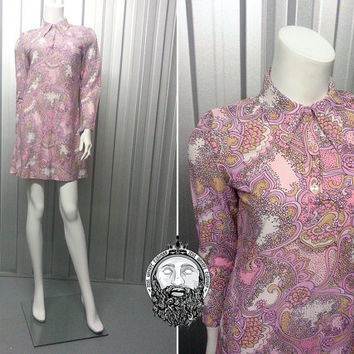 Vintage RHONA ROY 60s Mod Mini Dress Psychedelic Print Paisley Pattern Blush Pink and Purple Lilac Dagger Collar Micro Dress Long Sleeve