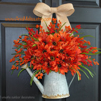 fall wreaths front door wreaths outdoor decorations watering can front door wreaths