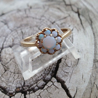 Vintage Opal Ring 10k Ladies Engagement October birthstone cluster cocktail 9 stone yellow gold halo flower