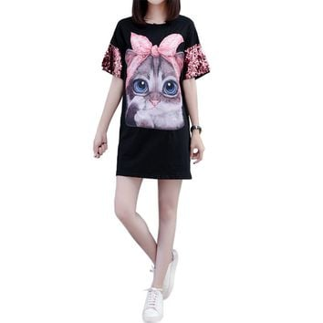 Harajuku Sequined T-shirts Women 2018 Kawaii Cat Print Long T sh ab60a53537b8