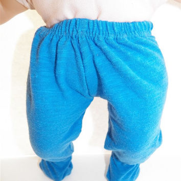 """American Girl Bitty Baby Clothes 15"""" Doll Clothes Soft Royal Blue Footed Cotton Knit Footed Pants"""