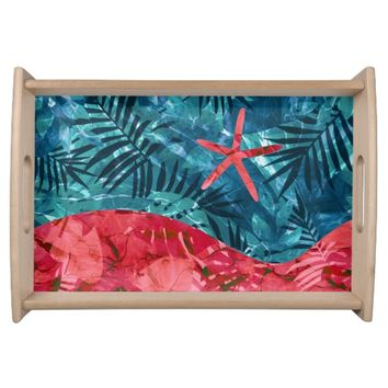 Summer Beach Tropical Pattern Serving Tray