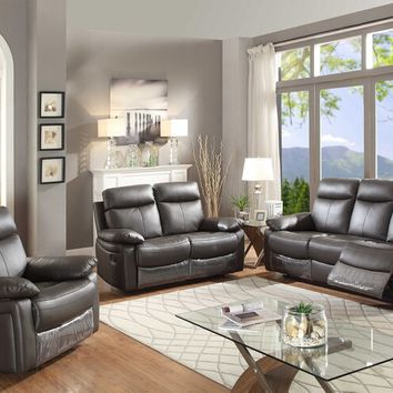 2 pc Ryker collection brown leather match upholstered sofa and love seat with recliner ends