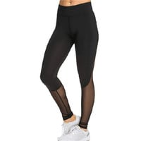 Fitness Stretchy LeggingsWomen Sexy Mesh Patchwork Leggings Skinny Push Up Black color  J4U66