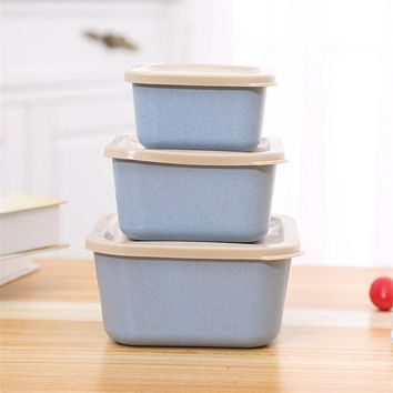 3 PCs/Set Eco-friendly Wheat Straw Lunch Box with Cover Leakproof Food Fruit Sushi Storage Kitchen School Office Camping Use