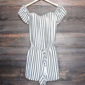 lioness - chiffon ivory black striped off the shoulder strapless romper