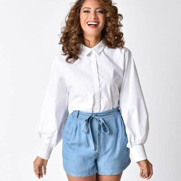 Vintage Style White Button Up Cotton Blouse