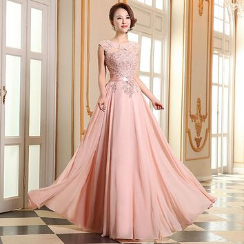 Evening Dresses Cheap 2016 Hot Sleeve Floor-Length Party Dresses Sexy Chiffon Long A-Line Prom Dresses Free shipping
