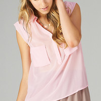 PINK CHIFFON POCKET TOP