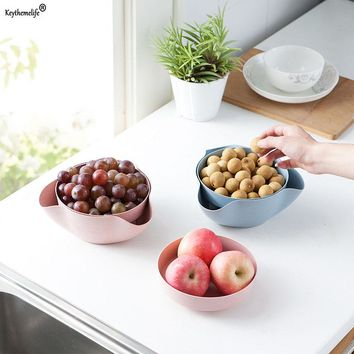 Keythemelife 1PCS Fruit Compote Split Double Bowl Compote Candy Snack Nuts Box Holder Tray Dish Decoration Fruit Tray 5D