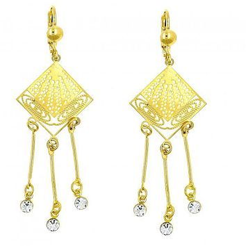 Gold Layered 02.211.0012 Chandelier Earring, Filigree Design, with White Crystal, Polished Finish, Golden Tone
