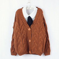 Bat sleeve loose pure color sweater  T81145
