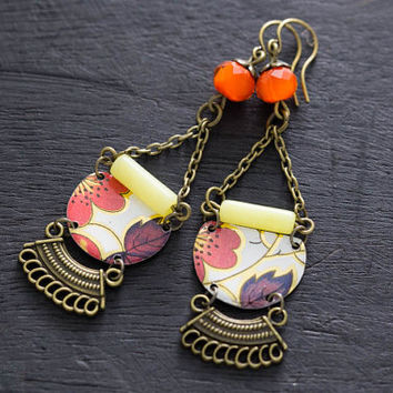 Oriental Cherry Blossom Earrings with Vintage Tin, Antique Brass and Orange Beads, Asian Jewelry, Japanese Jewelry