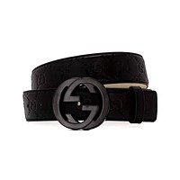 Free shipping-GUCCI Retro Simple Double G Smooth Buckle Belt