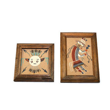 Vintage Navajo Sand Art Painting Sun and Eagle Painting Rainbow Yei Painting Begay Sand Art Southwestern Decor