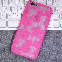Fashion Rose red Lace Mobile Phone Case For Iphone  6 6s 6plus 6s plus + Nice gift box!