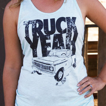 Truck Yeah! Country Unisex Tank Top - Ash Grey Sea Foam - Made in the USA