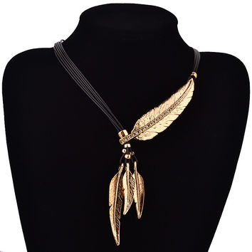 Bohemian Style Feather Pendant Necklace For Women