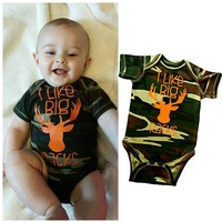 2016One Piece Deer Cute Animal Romper Newborn Infant Baby Boy Clothes Camo Cotton Jumsuit Outfit Army Green Clothing Romper 2016
