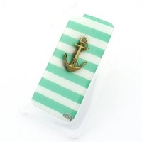 CLEAR Snap On Case for APPLE IPOD TOUCH 4 / 4G / 4th Gen Generation Plastic Cover - GOLD ANCHOR TEAL STRIPES hope dont sink refuse to blue mint tiffany cute ocean