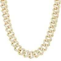 Iced Out 11mm Miami Cuban Choker Square Link Necklace