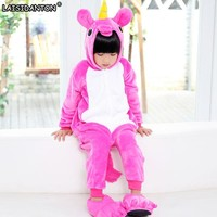 LAISIDANTON Cute Unicorn Pajamas Autumn Winter Homewear Unicornio Children's pajamas cartoon Animal Pajamas Kid Boy Sleepwear