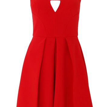 Red Cutout V-Neck Fit & Flare Dress