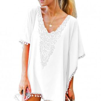 White Crochet Chiffon Tassel Beach Cover Up